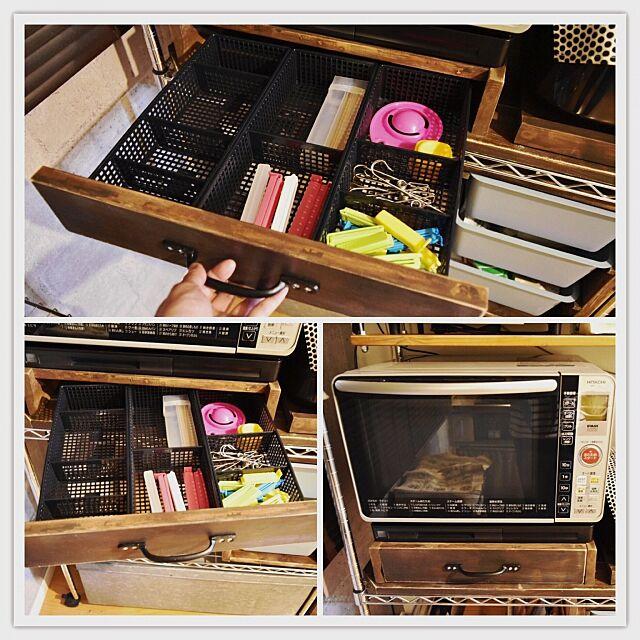 Kitchen,模様替え中,引き出しの中,隠す収納,収納DIY ,収納アイデア,なんちゃって引き出し,小物収納,Can☆Do,仕切りボックス,DIY,団地,狭小住宅,収納 mokaの部屋