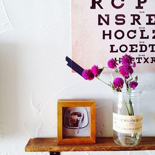 On Walls,ドライフラワー,千日紅ドライ,男前も可愛いも好き,お酒の空き瓶にラベル kumiの部屋
