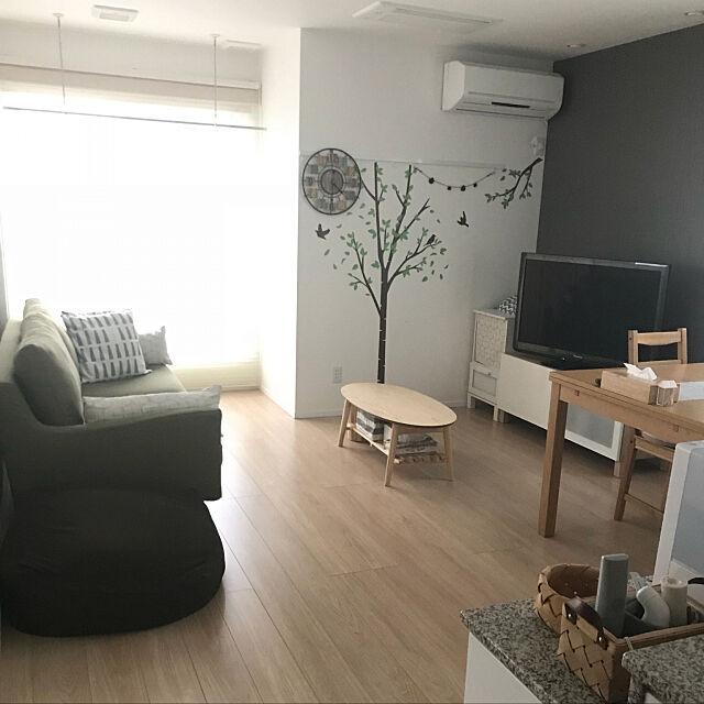 Overview,IKEAのダイニングテーブル,IKEAのテレビボード,クッションカバー,エムール ローテーブル,グリーンソファー,ニトリのウォールステッカー,狭い部屋 ,いつもありがとうございます♪ chocoの部屋