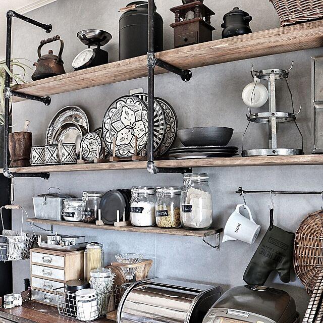 Kitchen,キッチン雑貨,インスタやってます♡,モロッカンセラミック,DIY,見せる収納,輸入壁紙,男前,rasch,Rustic,セルフリノベーション,アメブロやってます♡,ガス管ウォールラック,ディスプレイ,陶器,美濃焼 yupinokoの部屋