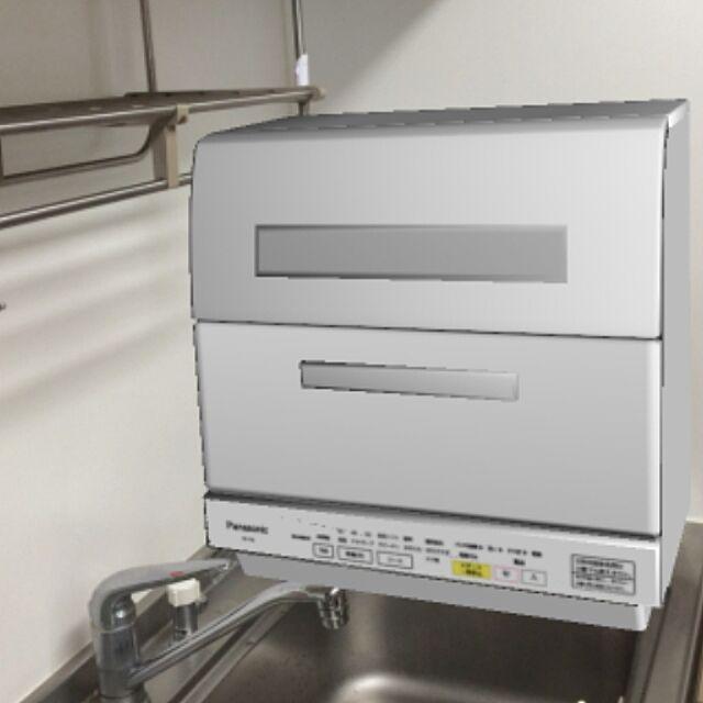Kitchen,ホワイト家電,しろが好き*,食洗機置き場,パナソニック,食洗機 takubonchanの部屋