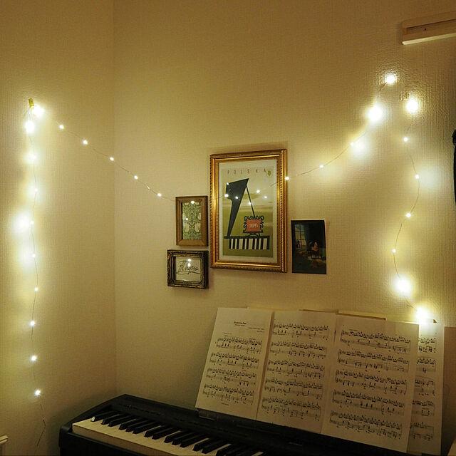 フライングタイガー,アート,ウォールアート,IKEA,雑貨,ピアノ,一人暮らし,北欧,フェアリーライト,照明,Lounge n_aaltoの部屋