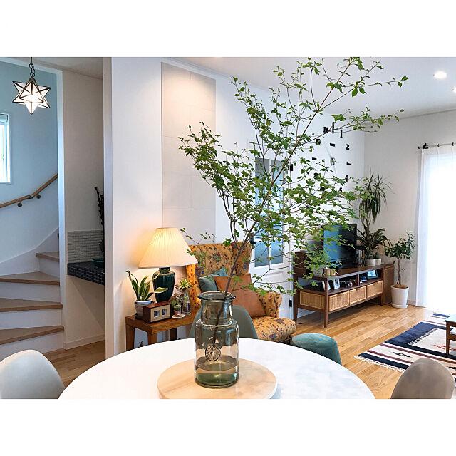 On Walls,エコカラットの壁,ACTUS花瓶,リビング階段,ドウダンツツジ,ナチュラルインテリア,植物のある暮らし,ランプのある暮らし 2winkle-starの部屋