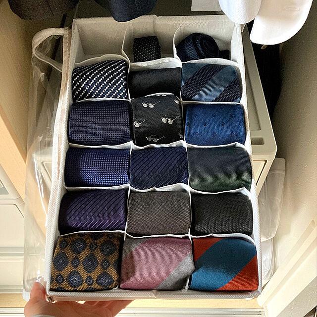 小分けボックス,仕切りボックス,3COINS,ネクタイ収納,収納,いつもありがとうございます,整理収納,収納アイディア,Bedroom mako2yaの部屋