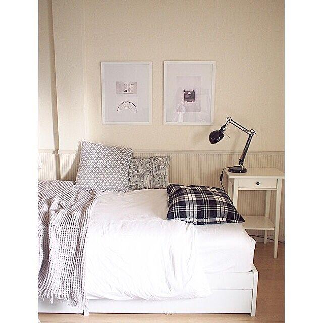 Bedroom,ランプ,Francfranc,Studio Clip,ポスター,無印良品,IKEA,塩系インテリア,塩系インテリアの会,モノトーン,北欧,一人暮らし poroporoの部屋