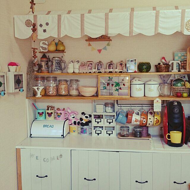 Kitchen,カフェコーナー,DIY,salut!,エアープランツ♡,ダイソー#ガラスペイント,カフェなんちゃって屋根 yuki-pandaの部屋