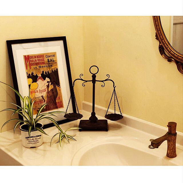 Bathroom,カクダイ水栓,ムーラン・ルージュ,ロートレック版画,アートのある部屋,スペイン漆喰,漆喰壁,新築,平屋,武一建設,コンクリート住宅,カサボニータ,四角い家,1969組 syungikuの部屋