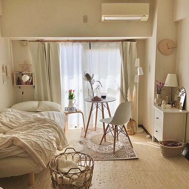 Overview,韓国インテリア,シンプル,一人暮らし,ホワイトインテリア,ナチュラル,IKEA,ニトリ mneの部屋