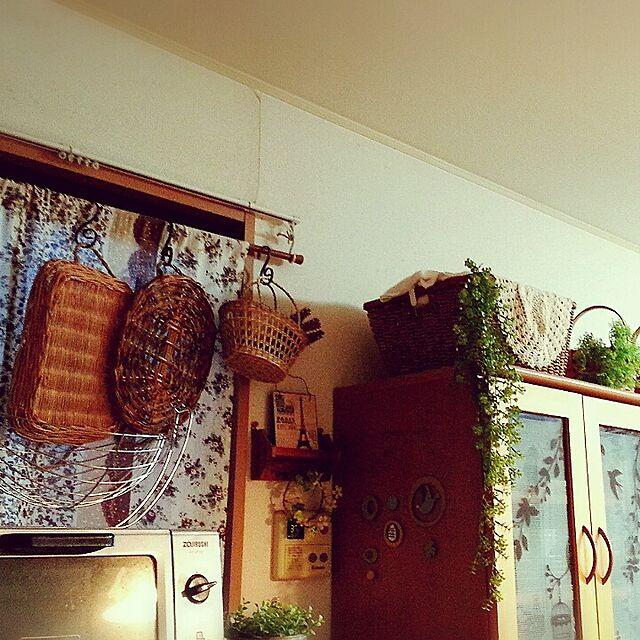 Kitchen,ダイソー,セリア,フェイクグリーンだらけの我が家。,ダイソーのトレー,かご好き,かごトレー,カメラマーク消したくて…,賃貸だけど諦めない irukaの部屋