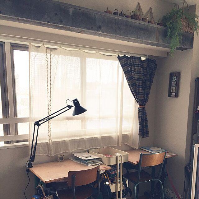 Lounge,勉強コーナー,クランプ式ライト,デスクライト,机の上が汚いですが…,勉強机,神奈川県民,模様替え,配置に迷い中…,リビング学習 chi-chi-の部屋