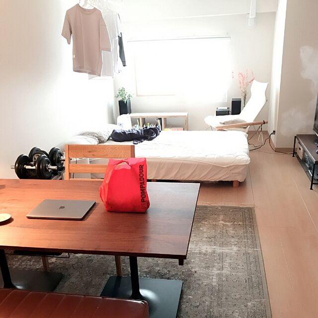 Overview,無印良品,勉強机,一人暮らし,ダイニングテーブル,自作テーブル,賃貸マンション,PCスペース,ワンルーム,学習机,寝室,賃貸,ニーチェア,コンポニビリ リプロダクト,ニトリ haru0829の部屋
