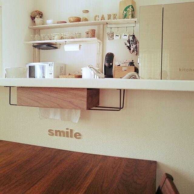 Lounge,ニトリのティッシュケース,スリコ,食器棚DIY nekomusume111の部屋