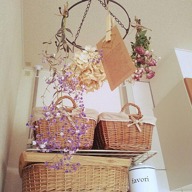 On Walls,アイアンサークルフック,セリア新商品,いなざうるす屋さん紫陽花,ドライフラワー作製中,かごが好き,RC三重支部,セリア,いなざうるす屋さん hiromiの部屋