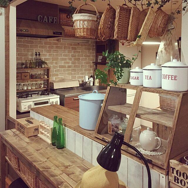 Kitchen,ショーケース,賃貸,水色ホーロー鍋♡,ニトリ,カゴぷら好きです♡,セリア nicoco.の部屋