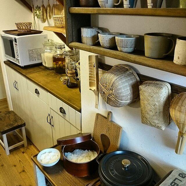 Kitchen,暮らし,和,古民家系,かご,竹かご,台所,食器棚DIY,おひつ slow-lifeの部屋