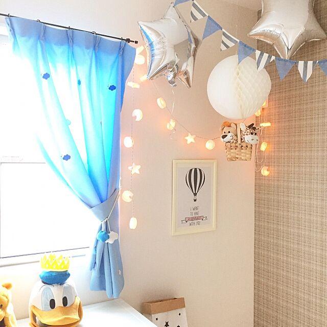 On Walls,気球モビール,キッズルーム,子供部屋,セリア,IKEA,星,マイホーム yu-rinの部屋