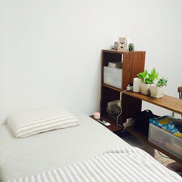 Bedroom,1K,無印良品,一人暮らし,グリーンのある暮らし,3Coins,無印良品 スタッキングシェルフ Naomiの部屋