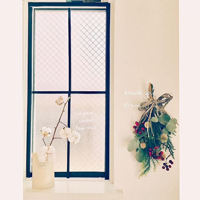 My Shelf,自家製コットンフラワー,17.12.11,スワッグ,Erenaちゃんからの素敵便,なんちゃって格子窓,クリスマス,迷走系インテリア,ぶらりん同好会 mogの部屋