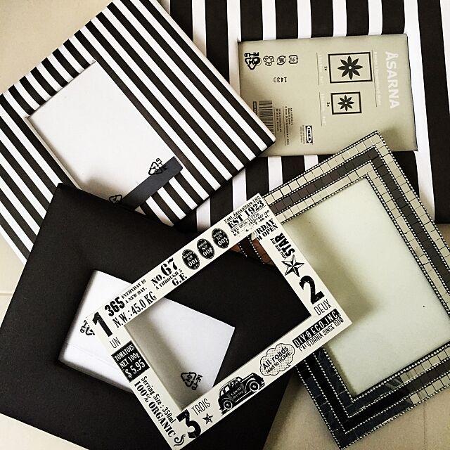 My Shelf,MONOTONE,モノトーン,白黒,フランフラン,ストライプ,ボーダー,IKEA,転写シール,リメイク,写真立て moyashiの部屋