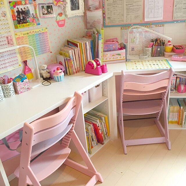 My Desk,女の子,子供部屋,姉妹,パステル,海外子供部屋に憧れる,IKEA,DIY,北欧,100均,雑貨,salut!,カッティングシート,フランフラン Tdesignの部屋