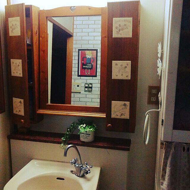 Bathroom,DIY,白レンガ壁紙,セリア,ダイソー,フェイクグリーン,洗面所,洗面所棚,タイル張りDIY ,タイルシール,団地 syungikuの部屋