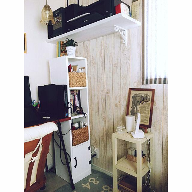 Overview,DIY 棚,DIY パソコンデスク,ニトリのカゴ,すき間家具,DIY,長女の部屋,ナチュラルインテリア,ナチュラルフレンチ,雑貨,リノベーション,観葉植物 REEmamaの部屋