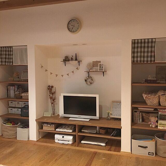 Lounge,パソコン,シェルフ,コットンフラワー,テレビ,プリンター,おもちゃ収納,収納,ナチュラルインテリア,テレビ周り pink-mapleの部屋