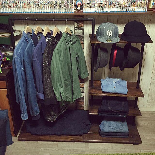 My Shelf,DIY,塩ビ管,足場板,収納,デニム,アンティーク,賃貸,ワンルーム,塩ビパイプ shota26の部屋