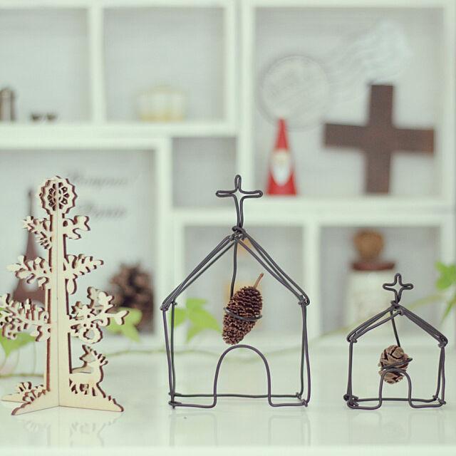 My Shelf,ワイヤークラフト,ハンドメイド,DIY,ナチュラル雑貨,クリスマス雑貨,ナチュラルインテリア,飾り棚,教会,クリスマス natural_white_の部屋