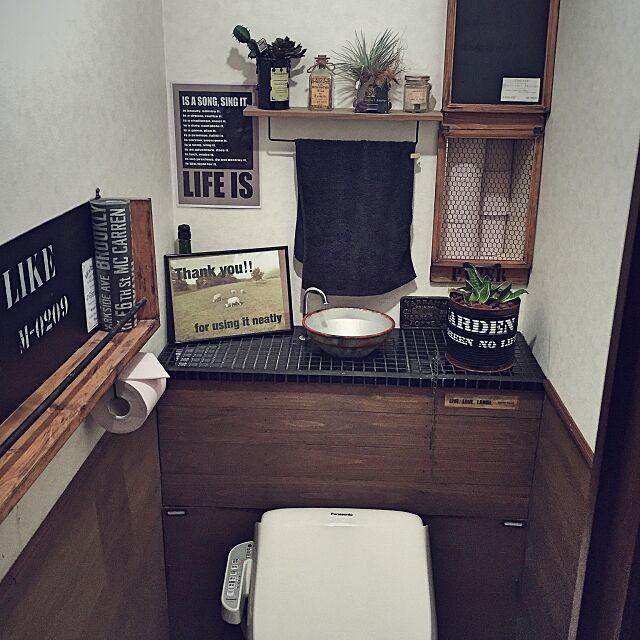 Bathroom,タイル貼り,トイレ,男前,DIY,コンテスト参加,タンクレス DIY,見せたくないものは隠す jojokeiの部屋