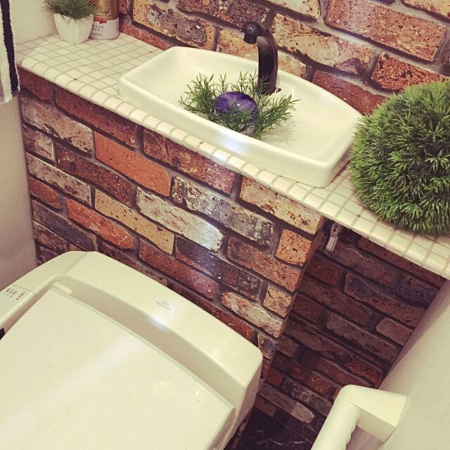 Bathroom,DIY,男前化計画,壁紙屋本舗,レンガ壁紙,れんが壁紙,カフェ風,トイレDIY,トイレ改造計画,トイレタンクを隠す,トイレタンク,トイレタンク隠し DIY Shokoの部屋