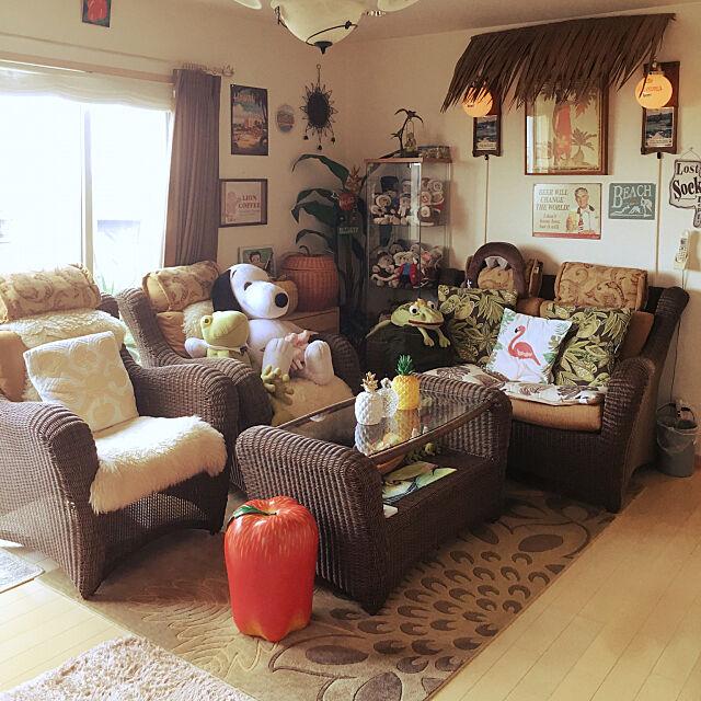Lounge,高台の家,カエルコレクター,オールドハワイアン,ハワイアンインテリア,パイナップル,ハワイアンリゾート mrs.hawaiiの部屋