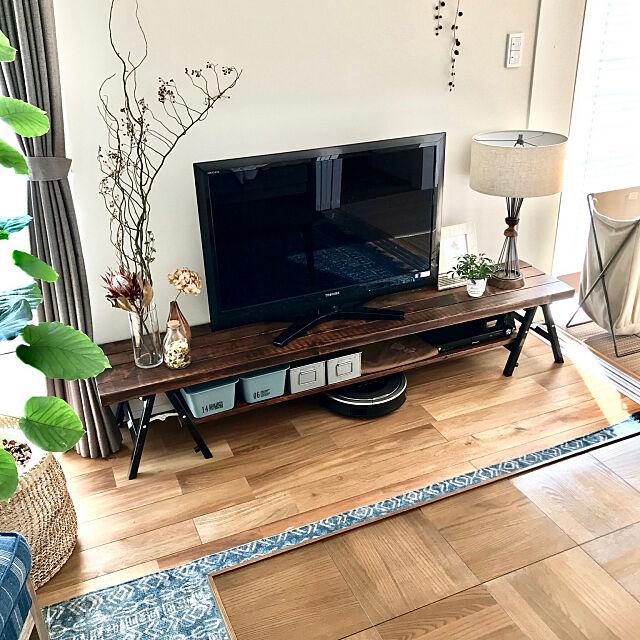 Lounge,DIY,テレビボード,観葉植物,ドライフラワー,ACME FURNITURE,journal standard Furniture,ルンバ,ラグ,ヴィンテージ,100均,ブラウン,BasShu,DIYテレビボード milcookの部屋