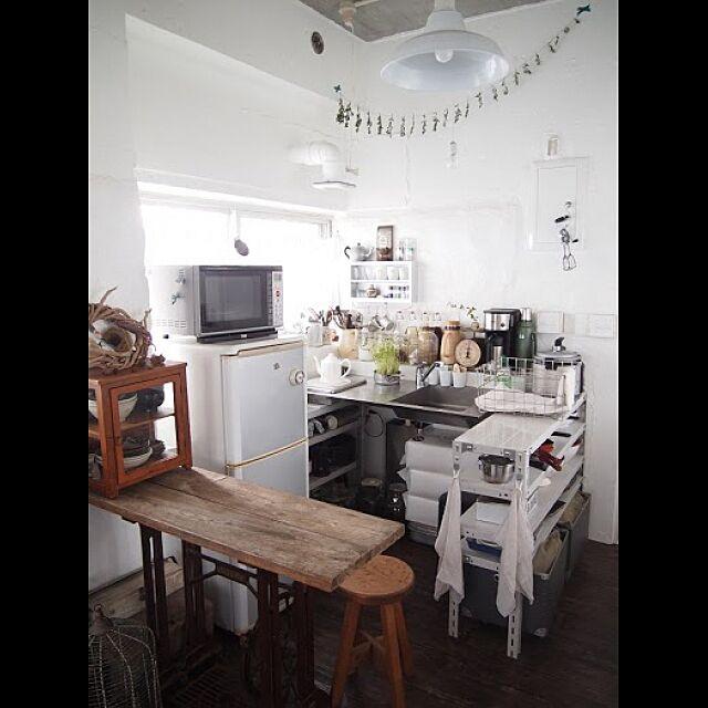 Kitchen,ナチュラル,アンティーク,ハンドメイド,手作り,スチールラック,ビンテージ,インダストリアル,ガーランド nayaの部屋