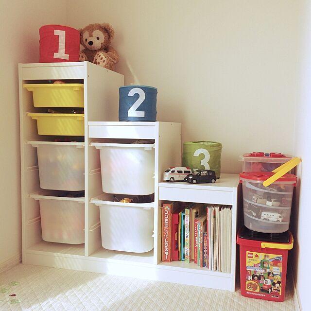 My Shelf,おもちゃ収納,IKEA,ナチュラル,すっきり暮らす,ホワイトナチュラル,子どもスペース,TROFAST Blau_の部屋