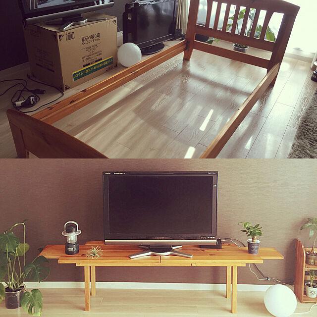 テレビボード,ハンドメイド,DIY,観葉植物,テレビ台DIY,My Shelf 8787hanaの部屋