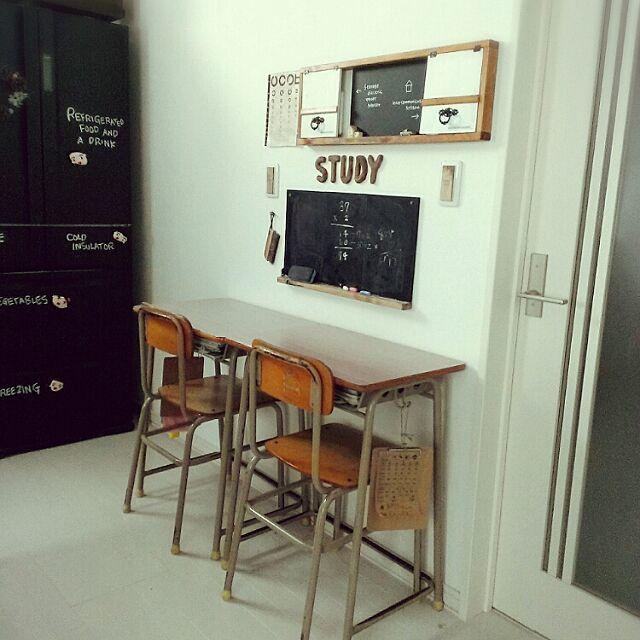Lounge,子供部屋,学校の机と椅子,黒板,視力検査表,インターフォン隠しDIY,冷蔵庫黒板塗装,プレ企画準備中,コンテスト参加してます♡ chocolate-cafeの部屋