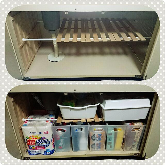 Kitchen,つっぱり棒,すのこ,ワッツ(ミーツ)♪,シンク下収納,ダイソー♡ kotubukkoの部屋