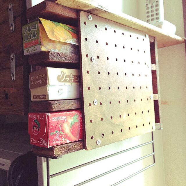 Kitchen,DIY,有孔ボード,ハンドメイド,ブライワックス チーク,スノコリメイク,スノコ,100均 antiqueheartの部屋