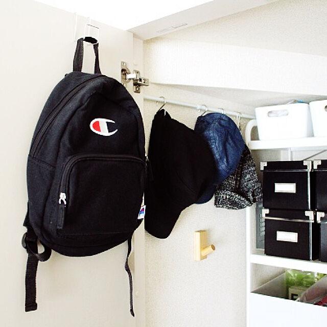 On Walls,しまむら,キッズリュック,帽子収納,S字フック+つっぱり棒,S字フック,つっぱり棒,リビング収納,無印良品,壁に付けられる家具,IKEA remaの部屋