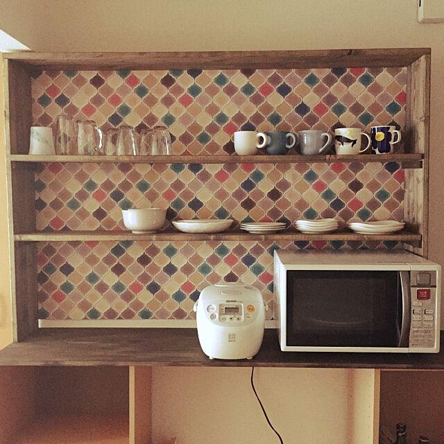 My Shelf,ぴったりサイズ,キッチン棚,食器棚DIY,コラベル,賃貸でも諦めない!,モロッカン柄,DIY,一人暮らし,賃貸,壁紙屋本舗 sweetの部屋
