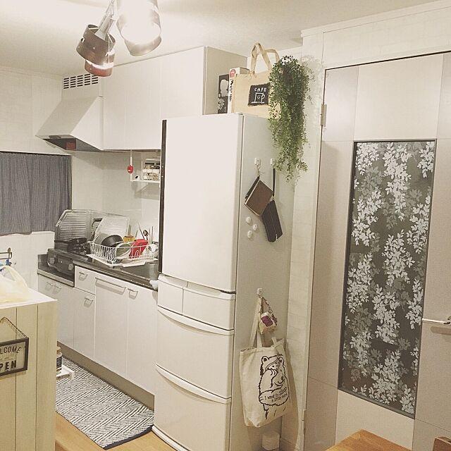 Kitchen,Panasonicの冷蔵庫,いなざうるす屋さん,フェイクグリーン,生活感がありあまる hassyの部屋