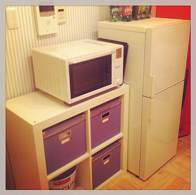 Kitchen,IKEA,無印良品,レンジ,冷蔵庫,アクセントウォール,壁 rinの部屋