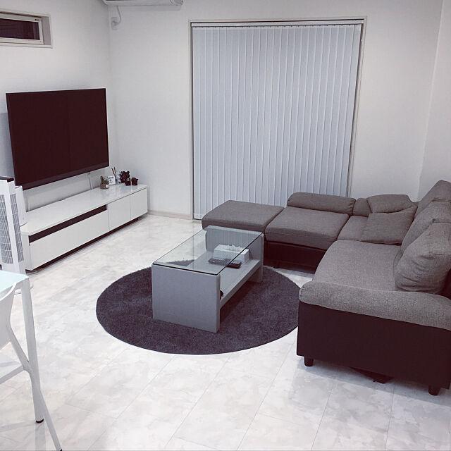 Lounge,モノトーン,シンプル,ホワイトインテリア,ダイソー,モダンデコ mi.345の部屋