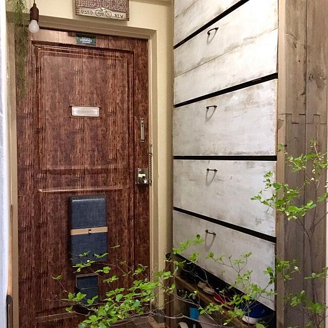 Entrance,狭い玄関,ダイソーのリメイクシート,夫婦でDIY,靴棚 DIY,築50年以上,団地,ロープランプ Yuyuの部屋