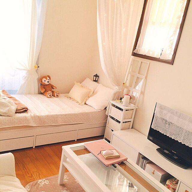 Overview,生活雑貨,フェアリーライト,ローラアシュレイ,モモナチュラル,ガラステーブル,ホワイト,6畳,狭い momoの部屋