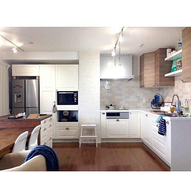 Kitchen,キッチンタイル,タイル,框扉,アイランドカウンター,キッチン,IKEA,L字キッチン,IKEAキッチン,L型 キッチン,食洗機,リノベーション,マンションリノベーション,マンション sasorikoの部屋