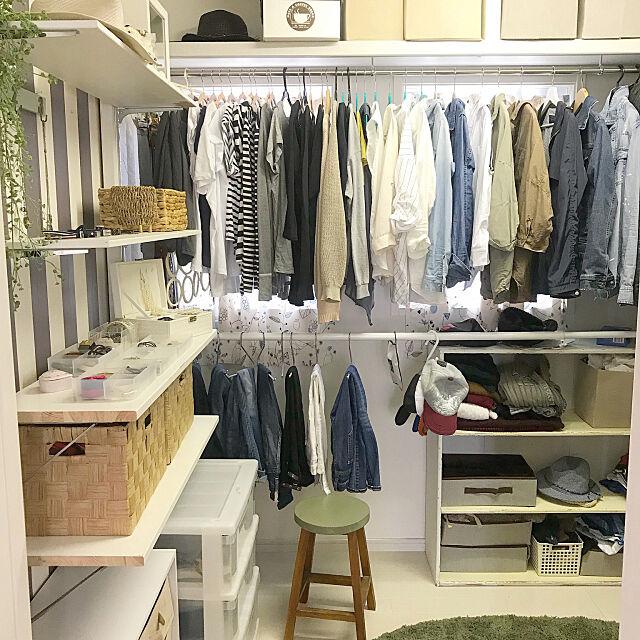 Bedroom,稼動棚DIY,断捨離,ウォークインクローゼット,クローゼット,DIY Sakura_Ayumiの部屋
