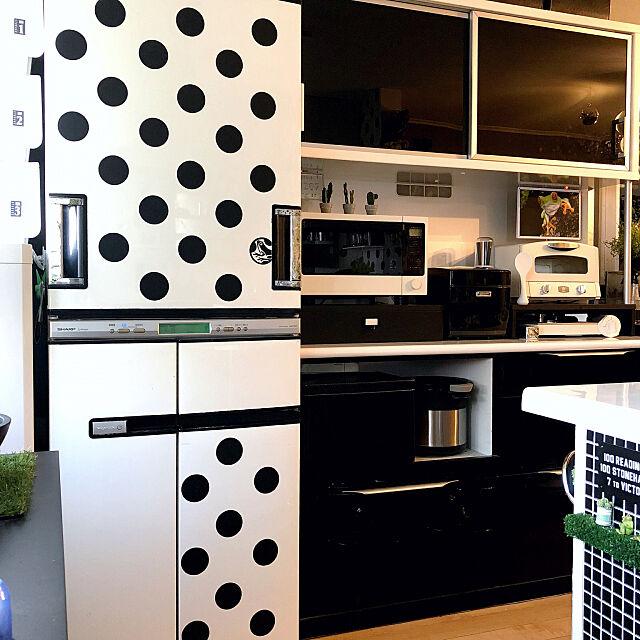 Kitchen,水玉,セリアリメイクシート,黒板シート,カッティングシート,冷蔵庫リメイク,ドット柄,いいね、フォロー本当に感謝です♡ kaerucoの部屋