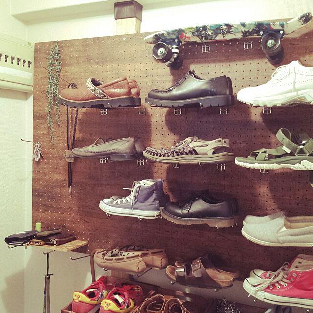 Entrance,ディアウォール,フック,靴収納,フェイクグリーン,ペニー,有孔ボード Ayanaの部屋